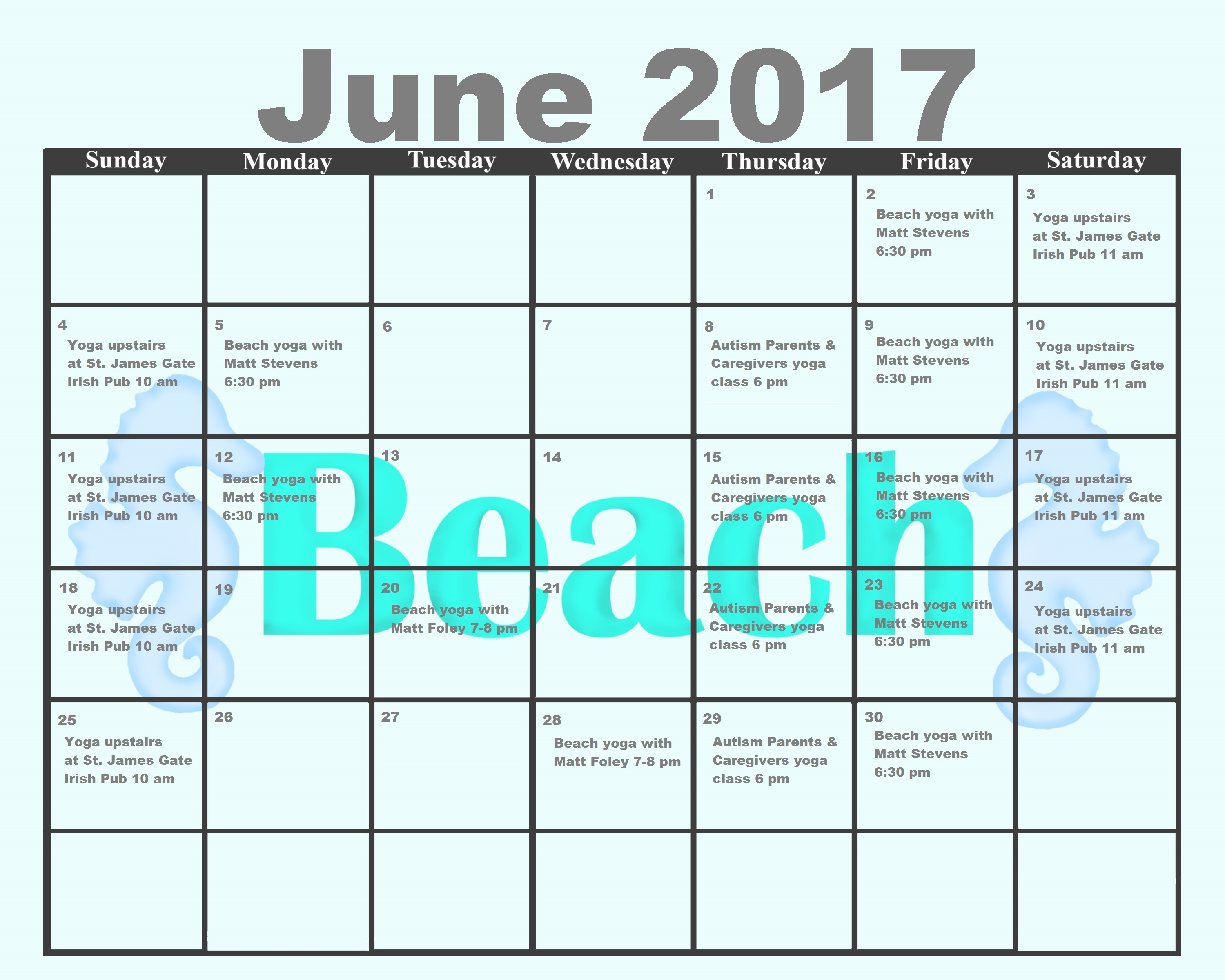Folly Beach Island Yoga June 2017 Calendar Printable