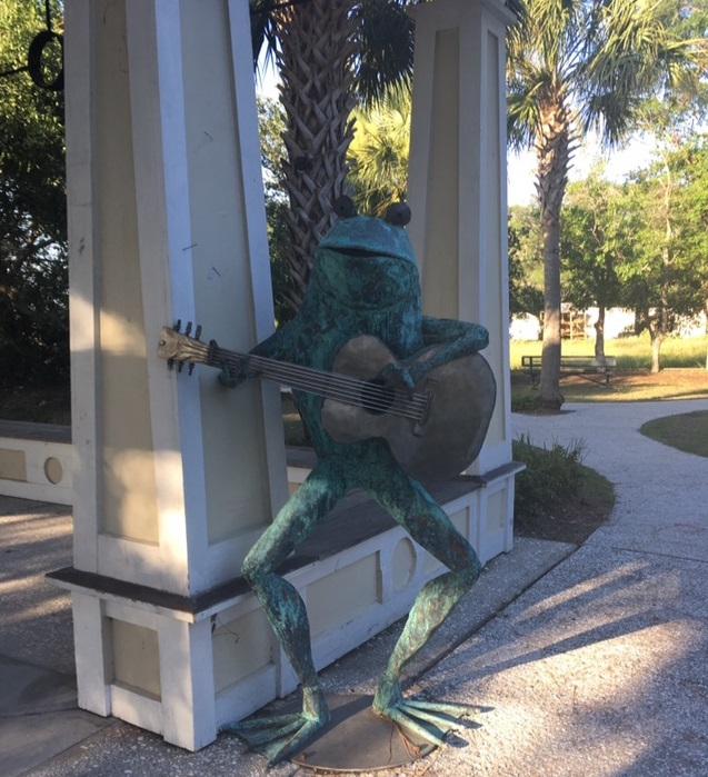 Folly Beach Island Yoga Parks Frog Statue Folly River Park